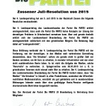 Zossener Juli-Resolution von 2015