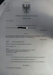 VG Beschluss gegen Einstweilige Verfügung